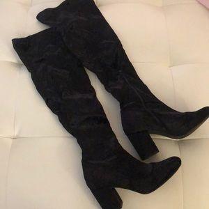 Black over the knee go go boots velour heels disco